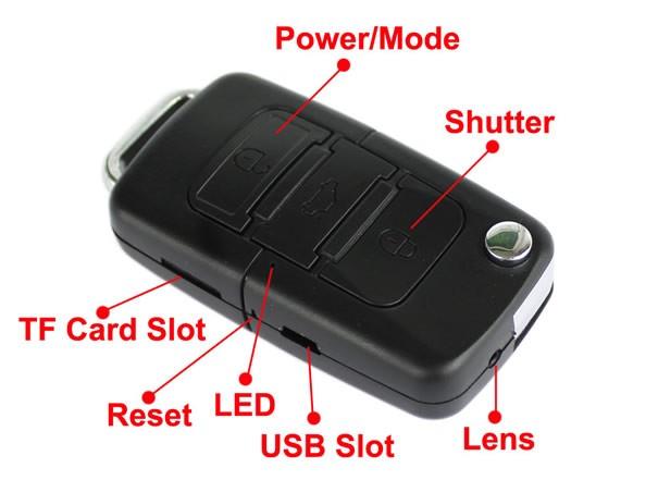 kleine camera in sleutel